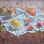 Aleksandr Chuvashov. Still life with apples and flowers